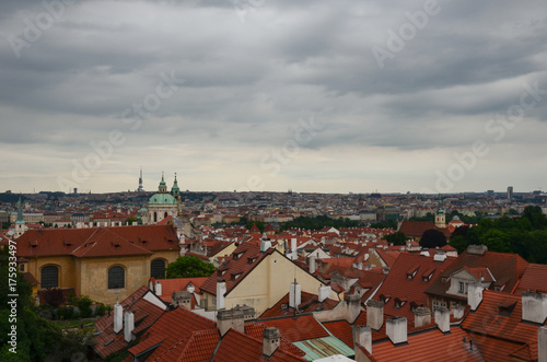 Poster Praag Panorama of the view on the roofs of Prague
