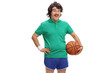 Retro sportsman with a basketball