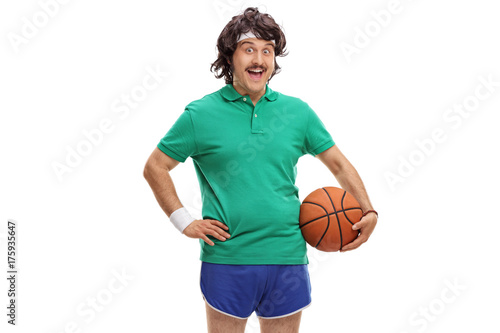 Fotobehang Basketbal Retro sportsman with a basketball