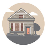A hand drawn illustration. Home Sweet Home. Vector icon. The building of the architect. - 175936850