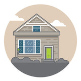 A hand drawn illustration. Home Sweet Home. Vector icon. The building of the architect. - 175936873