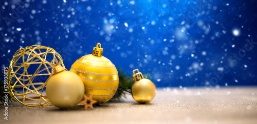 Christmas background with christmas balls, gifts and decoration Poster