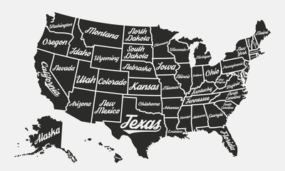 United States of America poster map. USA map vintage background. Retro typographic