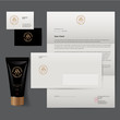 Barbershop logo and identity. Men's cosmetics logo emblem. Corporate style, envelope, letterhead, business card, Tube cream for the care of men's skin after shaving.