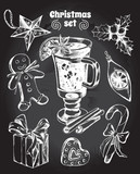 Set of Christmas attributes: Christmas decorations, gingerbread man, gift box, holly, candy, gingerbread, mulled wine. Hand drawn vector Illustration. - 175942099