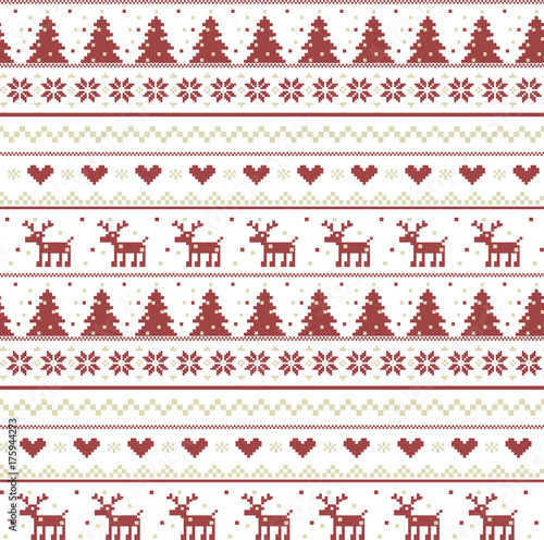 Fotobehang Hipster Hert Vector christmas pattern illustration of a knitting with a deer