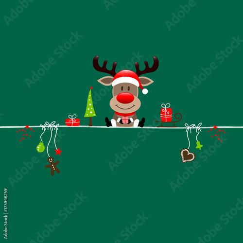 Poster Hoogte schaal Christmas Reindeer Gift & Symbols Green