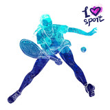 Bright watercolor silhouette of tennis player. Vector sport illustration. Graphic figure of the athlete. Active people. Recreation lifestyle. Logo I love sport. - 175947020