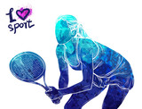 Bright watercolor silhouette of tennis player. Vector sport illustration. Graphic figure of the athlete. Active people. Recreation lifestyle. Logo I love sport. - 175947044