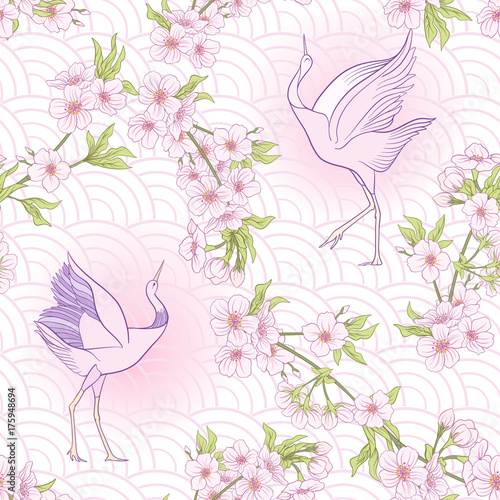 Cotton fabric Seamless pattern with Japanese blossom sakura and crane, bird. V
