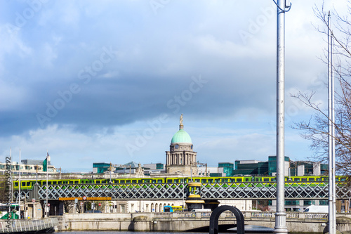 Dublin City Center and river Liffey,Ireland Poster