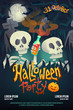 Halloween party poster with skeleton on dark cemetery back