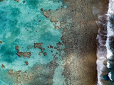 aerial view of waves on reef of polynesia Cook islands - 175954032