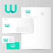 W logo. W azure letter monogram and Identity. Corporate style, envelope, letterhead, business card, pens.
