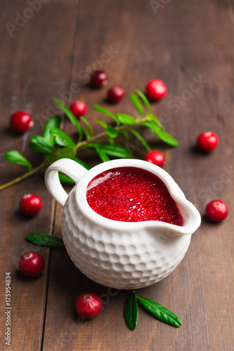 Poster Thanksgiving day red cranberry sauce