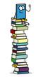 Buch als Cartoon Charakter auf Bücherstapel