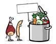 Cartoon Gemüse im Topf hält leeres Schild
