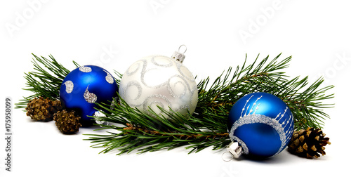 In de dag Bol Christmas decoration blue and silver balls with fir cones