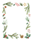 Watercolor vector Christmas frame with fir branches and place for text. - 175958433