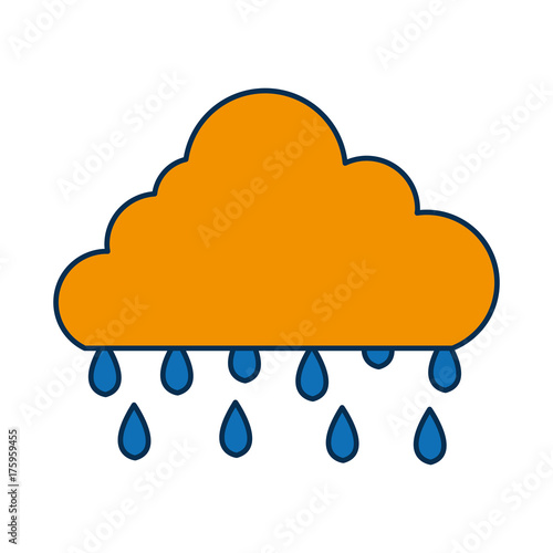 cloud and rainy drops icon over white background vector illustration
