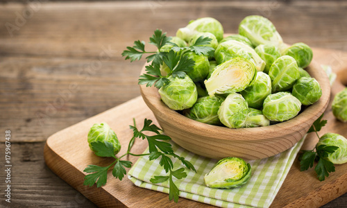 Keuken foto achterwand Brussel Fresh Brussel sprouts in the bowl