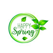 Green leaf happy spring blooming vector icon