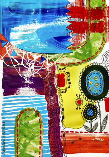 contemporary art abstract painting, acrylic on paper - 175967868
