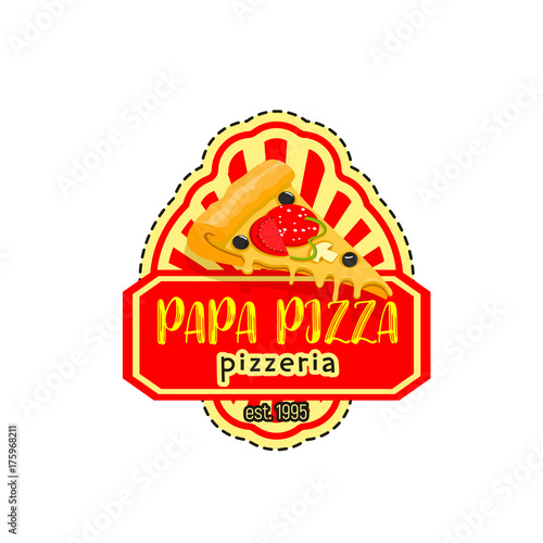 Papa pizza pizzeria italian vector icon