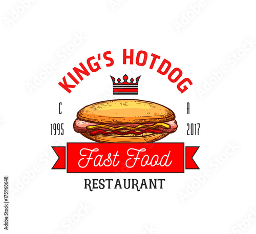 Hot dog restaurant fast food vector icon