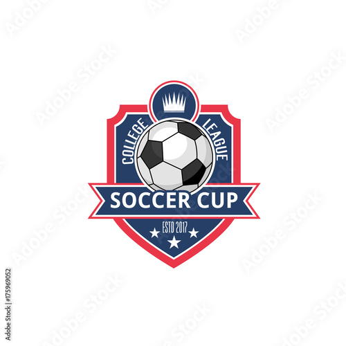 Soccer college football cup ball badge vector icon