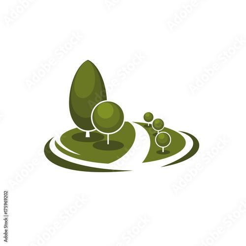 Foto op Plexiglas Wit Tree park garden eco landscape vector icon