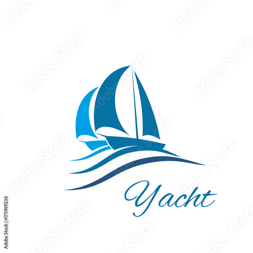 Yacht boat wave icon for sport sail travel club