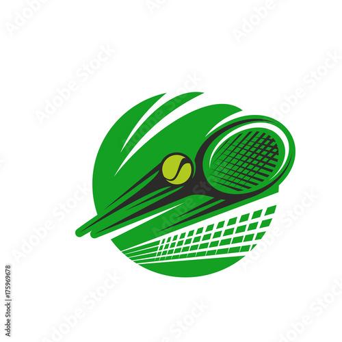 Fototapeta Tennis ball and racket sport team club vector icon