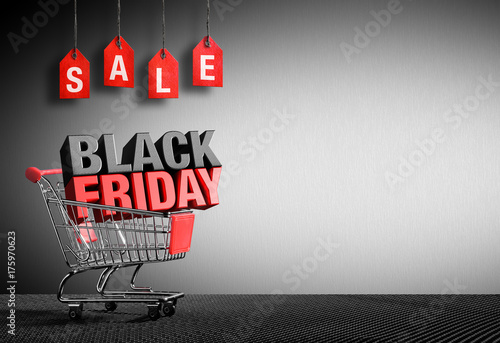 Black Friday Concept - 3D Text In Cart