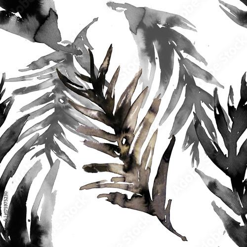 Watercolor black leaf hand drawn seamless pattern - 175975230