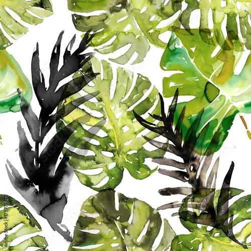 Watercolor monstera palm leaves seamless pattern - 175975871