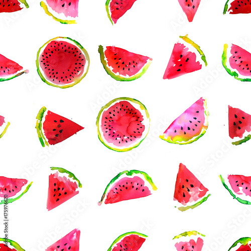 Summer  theme. Watercolor watermelon seamless pattern. Hand drawn.  - 175976620