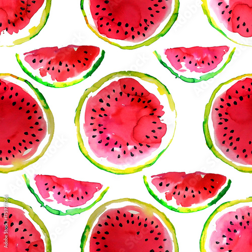 Summer  theme. Watercolor watermelon seamless pattern. Hand drawn.  - 175977056