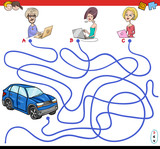 cartoon paths maze game with people and car - 175982034