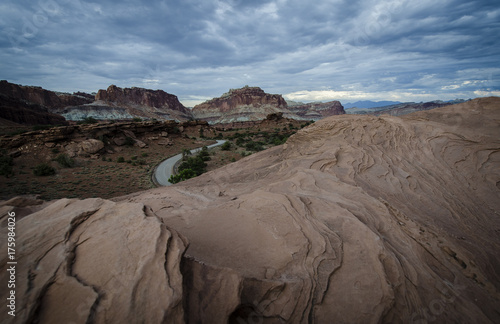 Foto op Canvas Cappuccino A road through Utah's red rock desert. Capital Reef National Park
