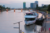River and city in evening. Frankfurt am Main, Germany - 175986439