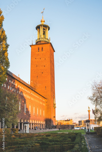 Keuken foto achterwand Stockholm Stockholm City Hall during autumn sunset, Sweden