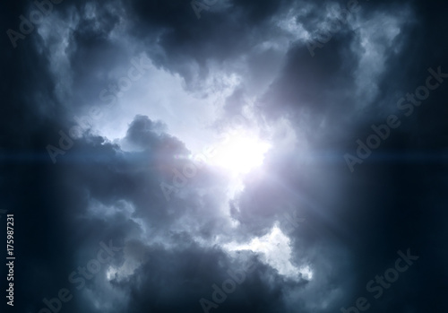 Cloudscape with Ray of Light - 175987231