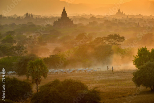 The Ancient temple in Bagan duringr sunset , Myanmar Poster