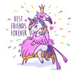 Unicorn with flamingo. Best friends forever. Vector greeting card.
