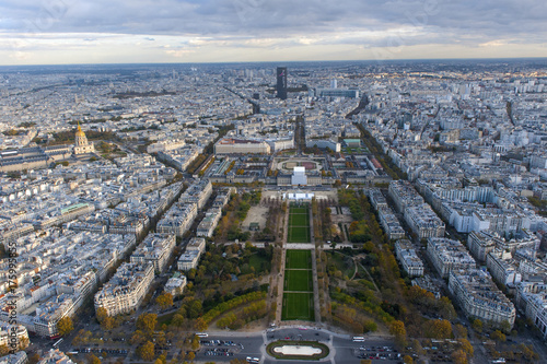 A great view from Eiffel tower of Champ de Mars and urban landscape on November 2016 in Paris, France Poster
