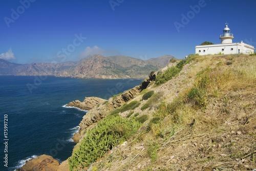 Fotobehang Vuurtoren Lighthouse Portman in Murcia, Spain