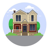 A hand drawn illustration. Home Sweet Home. Vector icon. The building of the architect. Victorian style. - 176000661