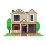 A hand drawn illustration. Home Sweet Home. Vector icon. The building of the architect. Victorian style. - 176000669