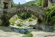 sight of a medieval bridge in the locality of Beget, Gerona, Spain.